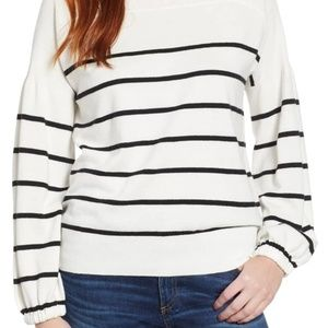 Lucky Brand Bishop-Sleeve Stripe Sweater Size S